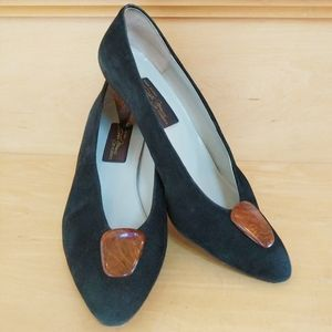 Sesto Meucci Black Suede Pumps With Wood Accents